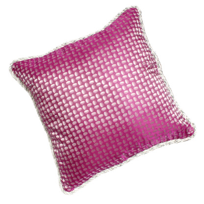 Chelsea Pillow covered in silk print fuchsia with dot and twisted rope trim