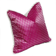 Chelsea pillow in silk print fuchsia with dot has twisted rope trim in white and silver