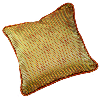 Milan pillow is covered in silk with a modern op art print.