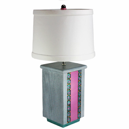 Olio Pink Table lamp with linen hard back drum shade