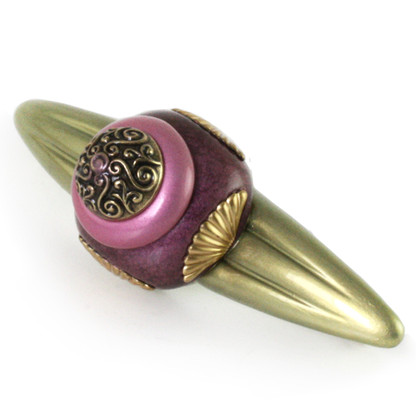 Tudor jade amethyst orbit pull 5 inches with 4 inch hole span with gold metal details