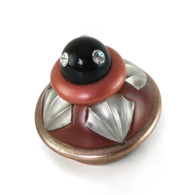Erte Agate and Coral Knob 2.5 In.