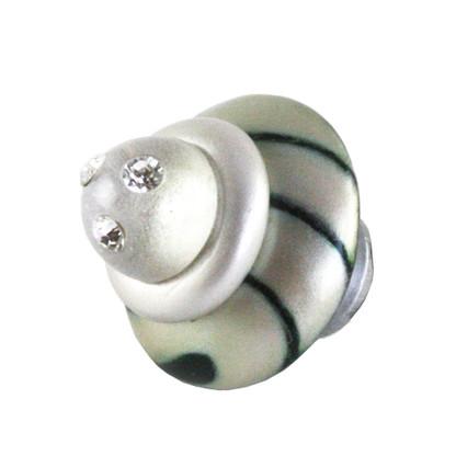 Congo light slate knob 2 in.diameter with swarovski crystals