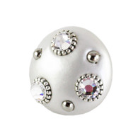 Mini Knob Style #6 Alabaster 2 in diameter with silver metal details and Swarovski crystals.