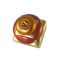 Duo Square Knob Copper and Deep Gold 1.25 Inches with gold metal details and topaz crystal.