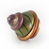 XL Congo Light knob Jade 2.5 in. diameter in amber, jade and amethyst with Swarovski amethyst crystals