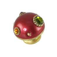 Nu Mini Style #6 knob ruby and gold has multicolored crystals.