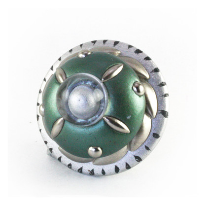 Poirot Emerald Knob 2.5 inches diameter with silver metal details and lucite cabochon.