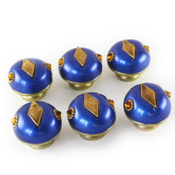 Set of 6 nu mini style #2 knobs lapis 1.5 inches diameter with gold metal accents and topaz  crystals.