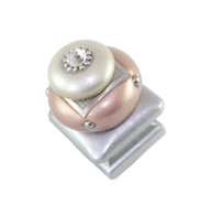 Duo Square Knob Pale Blush and Alabaster 1.25 Inches with silver metal details and crystal.