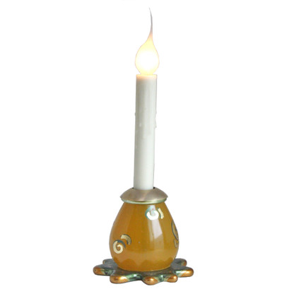 Splash Electric Candlestick in Gold is cast resin and hand painted with gold leaf details and with beeswax candle cover and decorative flame tip bulb
