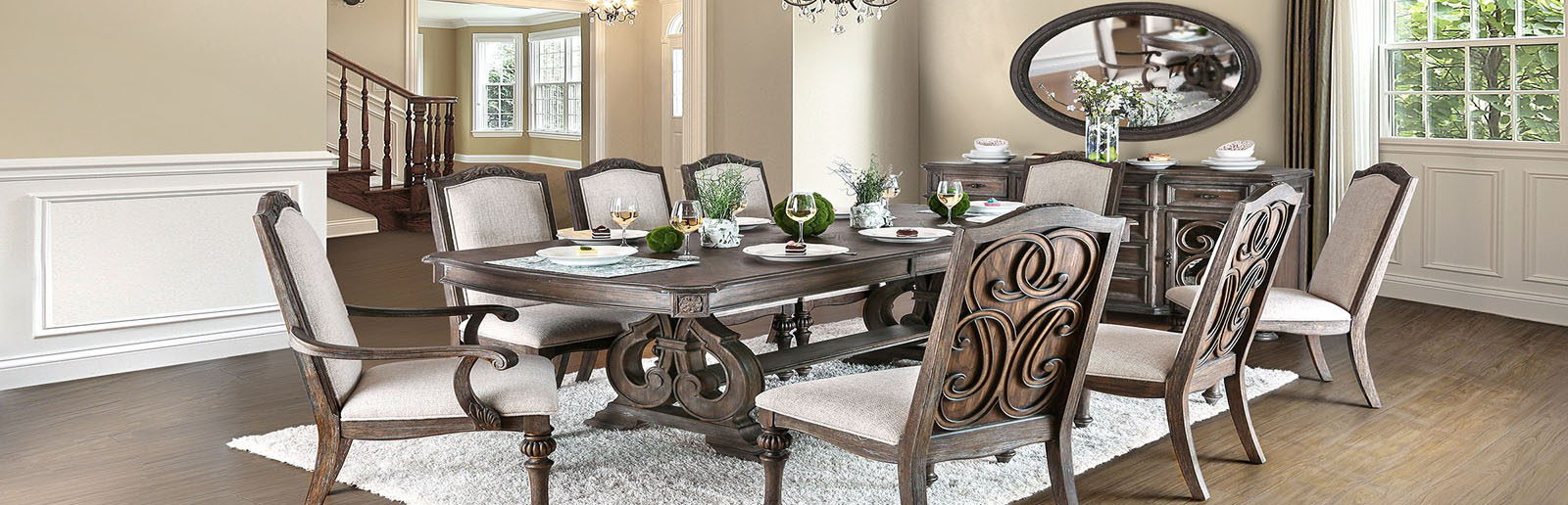 Formal Trestle Table with Chairs