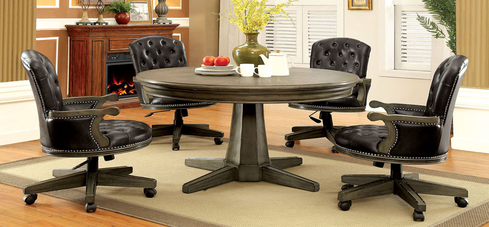 Round Game Table with Chairs on Caster