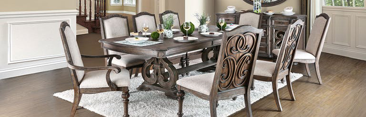 Extendable Formal Dining Table with Chairs