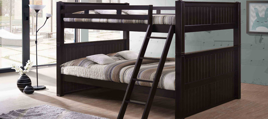 Queen over Queen Bunk Bed with Drawers for Adults