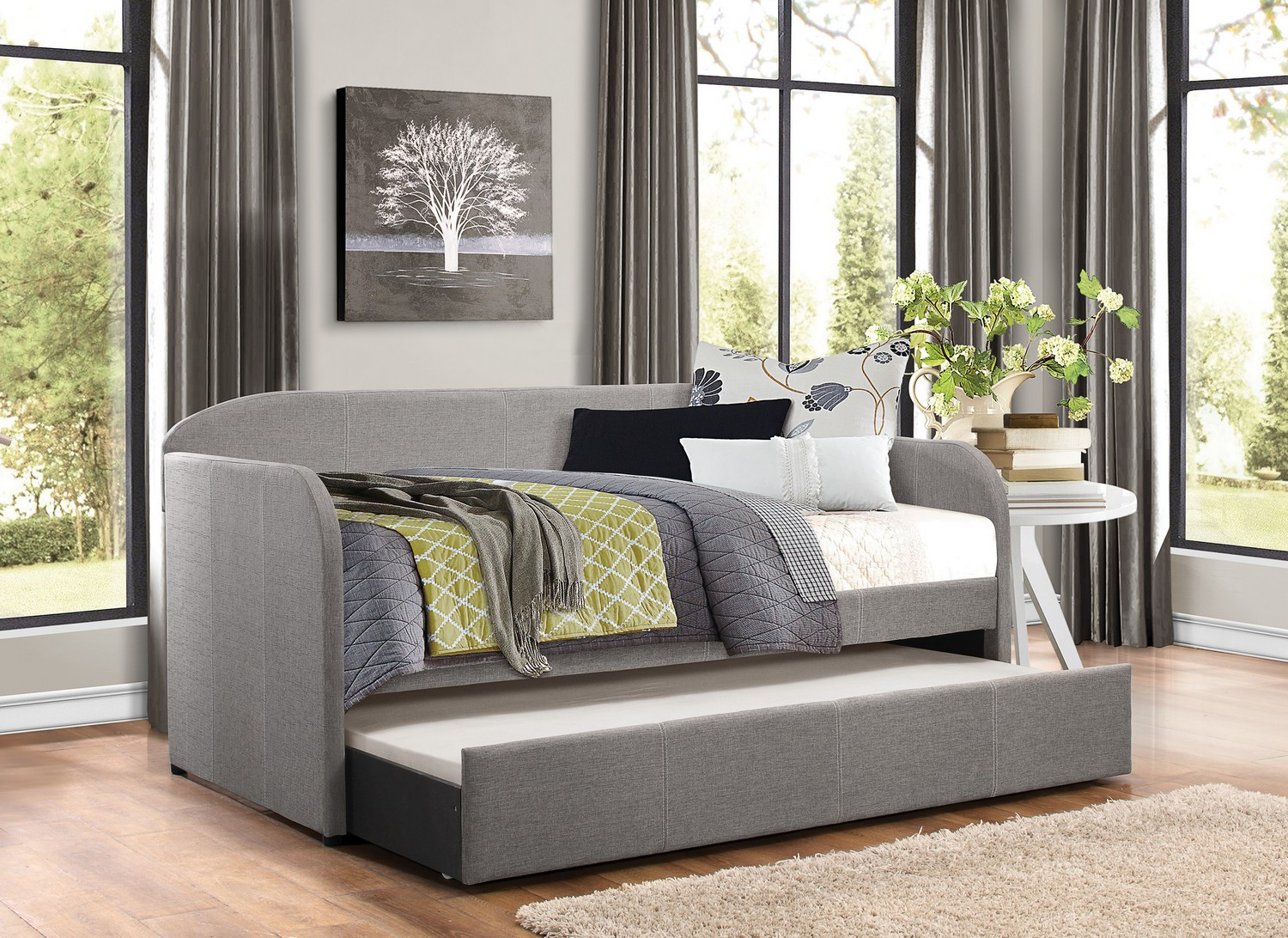Gray Daybed with Roll out Trundle