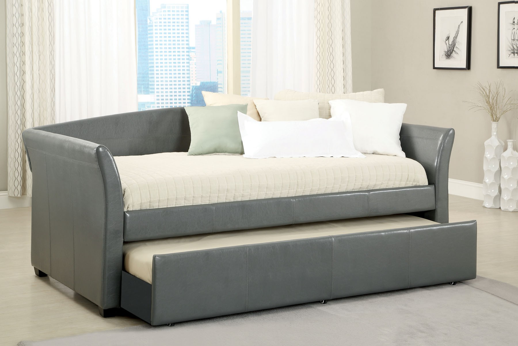 Gray Contemporary Daybed with Trundle