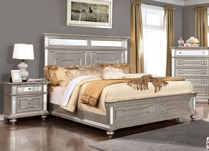 Furniture of America Silver 4 Pc Bedroom Set CM7673