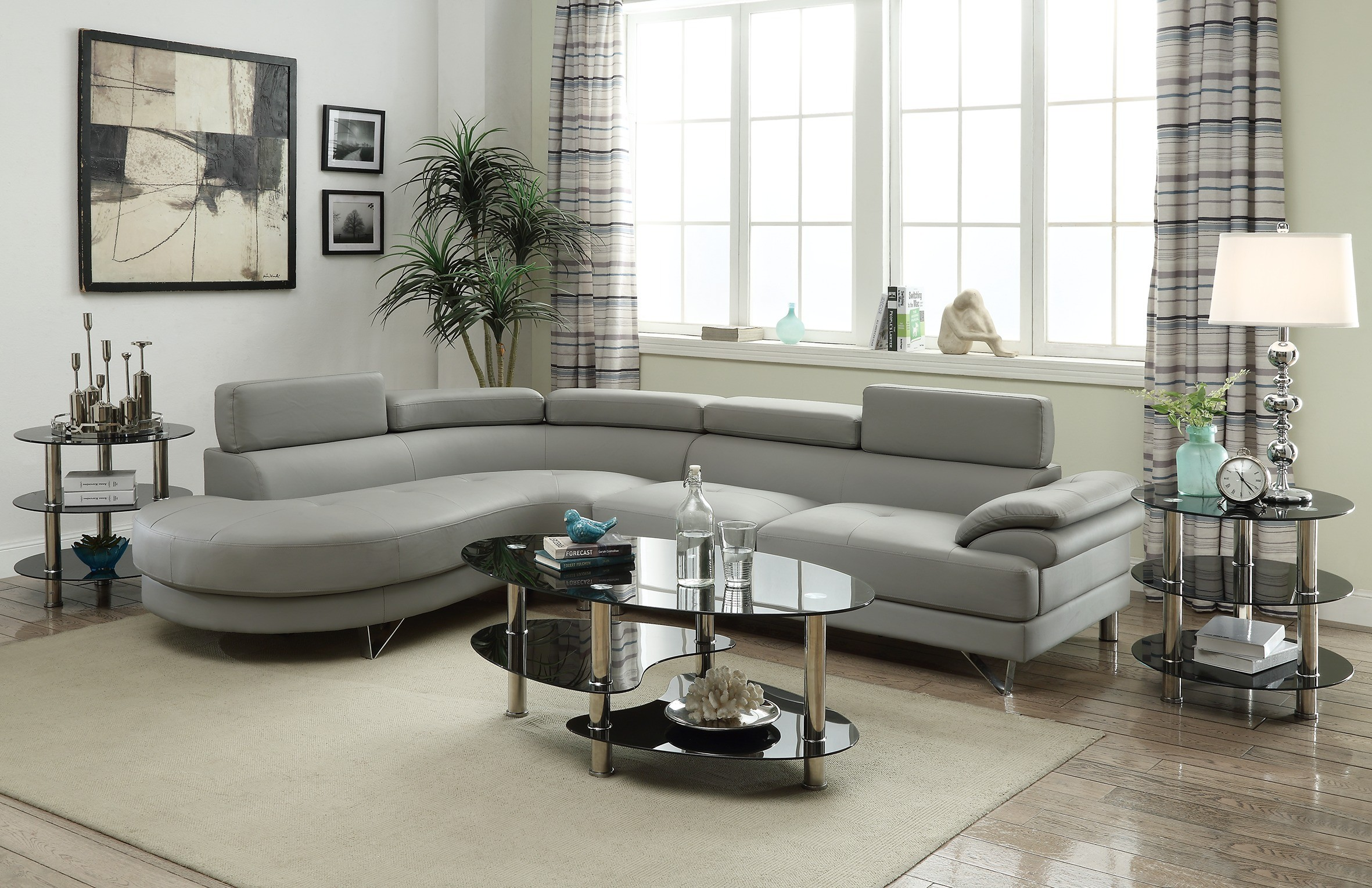 F6984 Faux Leather Sectional Sofa with Chaise