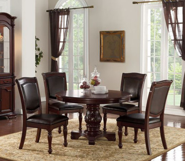 Poundex F2187 Round Cherry Table Set