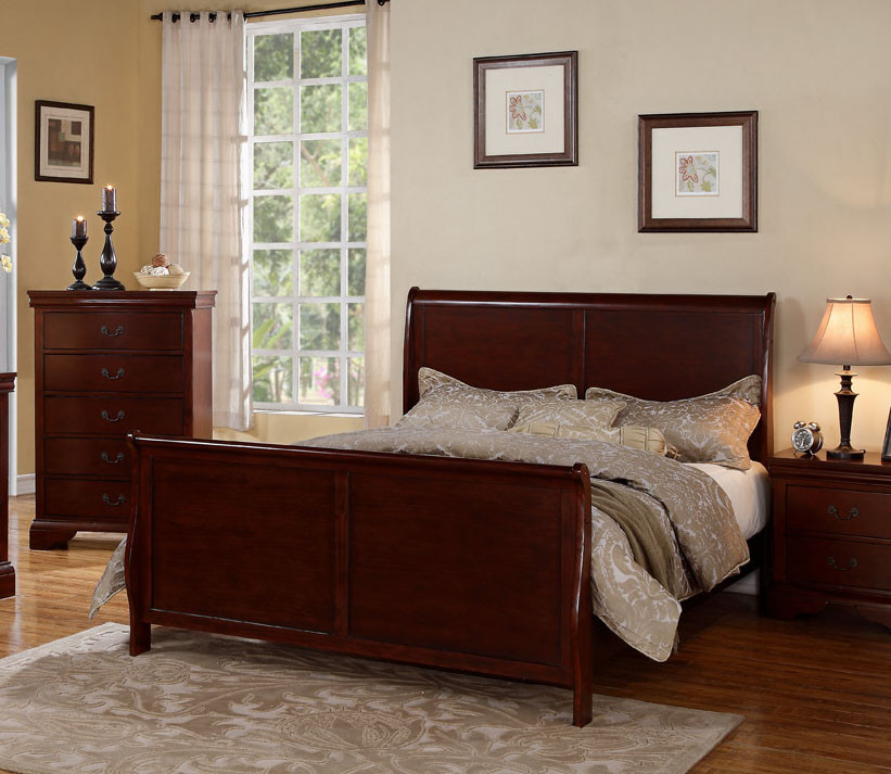 Poundex F9231 Louis Philippe Sleigh Bedroom Set | Cherry Sleigh Bed ...