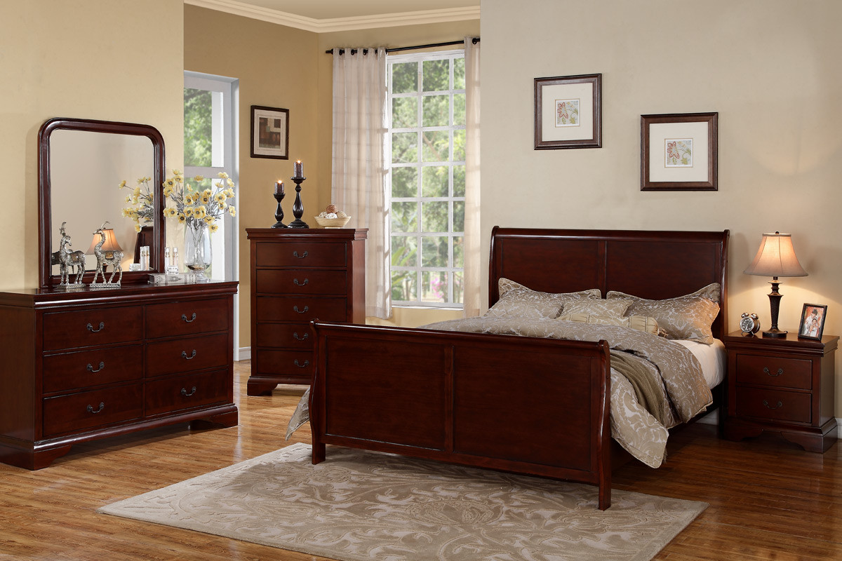 Poundex F9231 Louis Philippe Sleigh Bedroom Set W Queen Bed