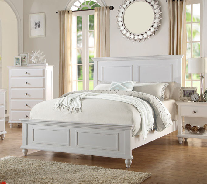 SANTA BARBARA COASTAL WHITE FINISH WOOD QUEEN BED NIGHTSTAND CHEST ...