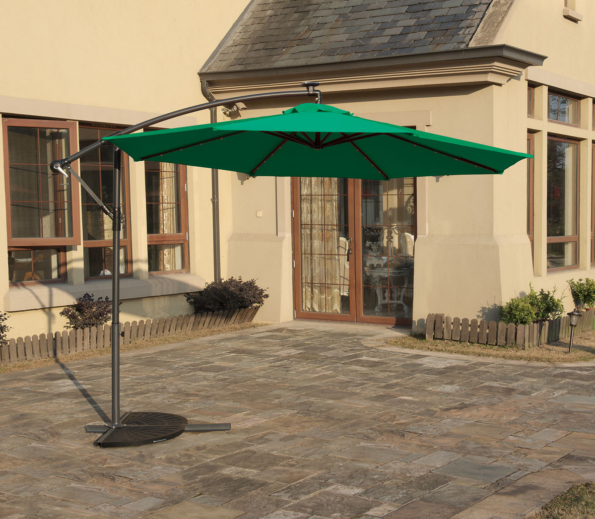 10u0027 Cantilever Green Umbrella With LED Light By Poundex | Green Cantilever  Umbrella ...