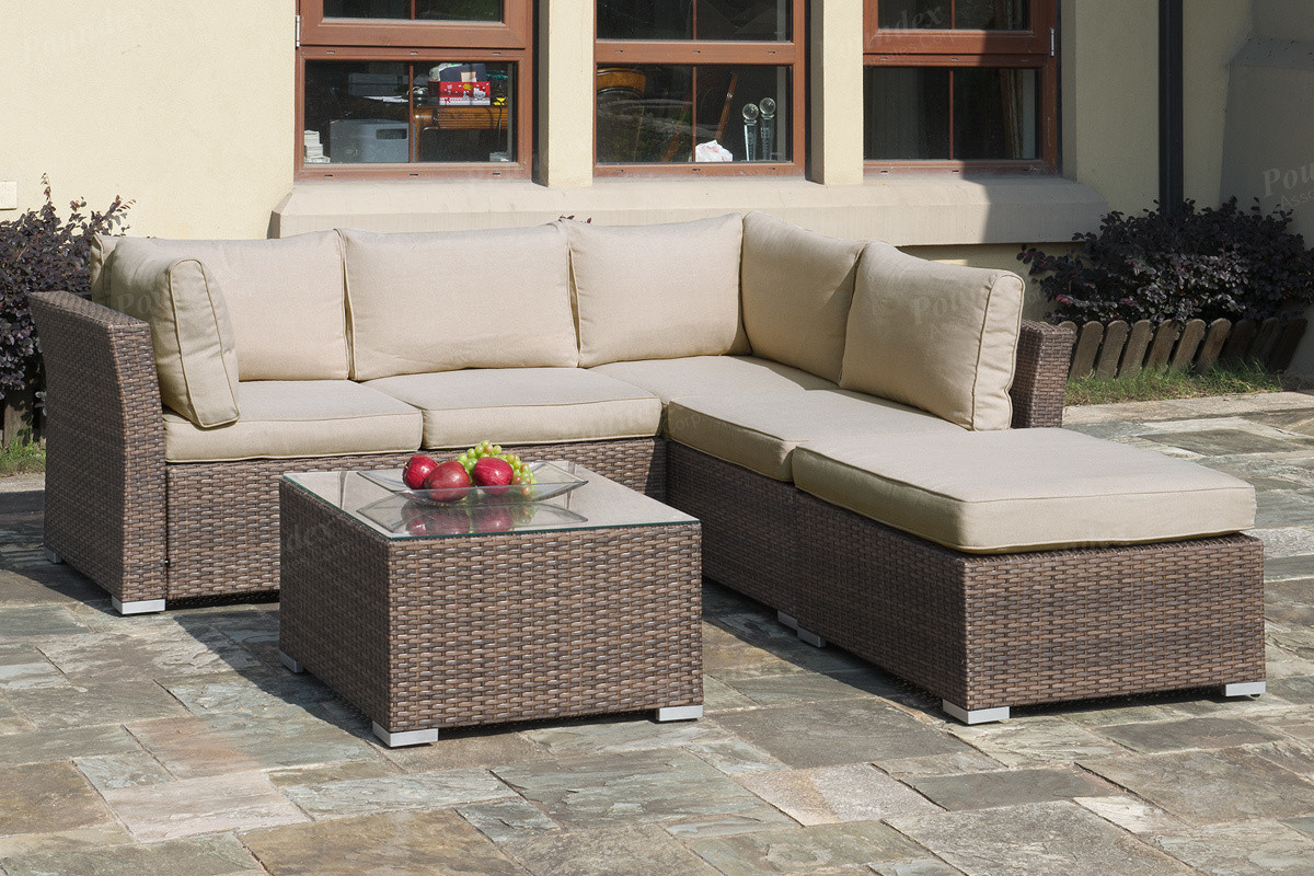 Poundex P50247 Outdoor Patio 4 Pcs Sectional Sofa Set | Sectional Sofa Set