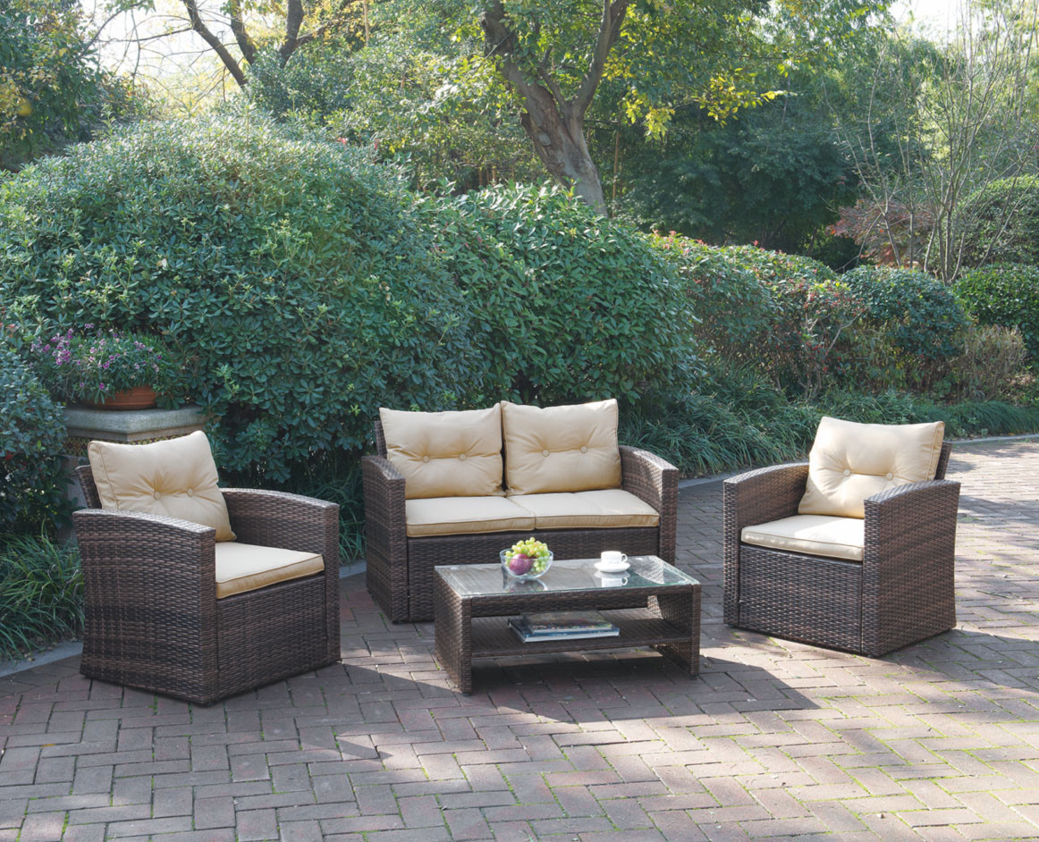 Poundex P50245 Outdoor Patio 4 Pcs Sofa Set