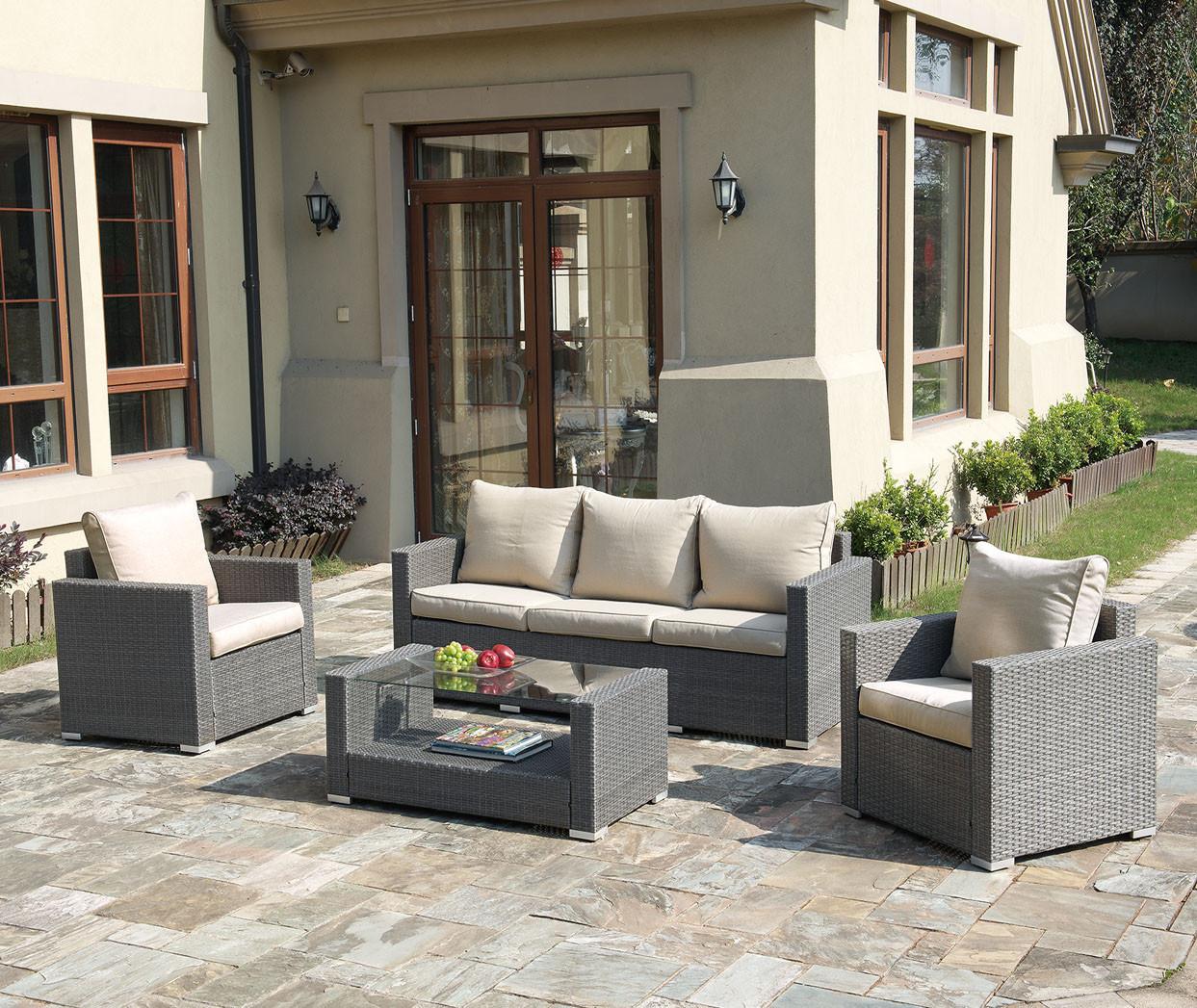Lizkona Poundex P50246 Outdoor Patio 4 Pcs Sofa Set | Outdoor Sofa Set