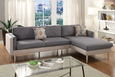 F6551 2-PCS Sectional Couch with Reversible Chaise in Ash Black Sand