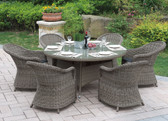 Tan Patio Table Set | Poundex P50266 Outdoor 7 Pcs Patio Table Set