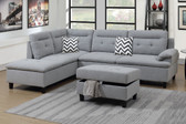 F6589 3-PCS Sectional Set w/Chaise and Ottoman in Gray Fabric