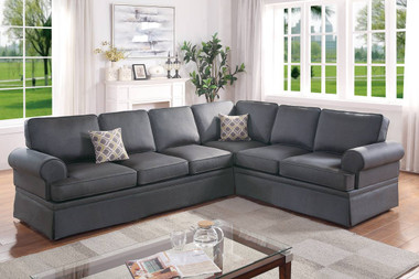 Poundex F6420 2-PCS Reversible Sectional Set in Charcoal