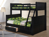 Dillon Black Twin Over Full Bunk Bed - Shown With Optional Under Bed Drawers