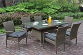 Tan Patio Set | Poundex P50270 Outdoor 7 Pcs Glass Patio Table Set