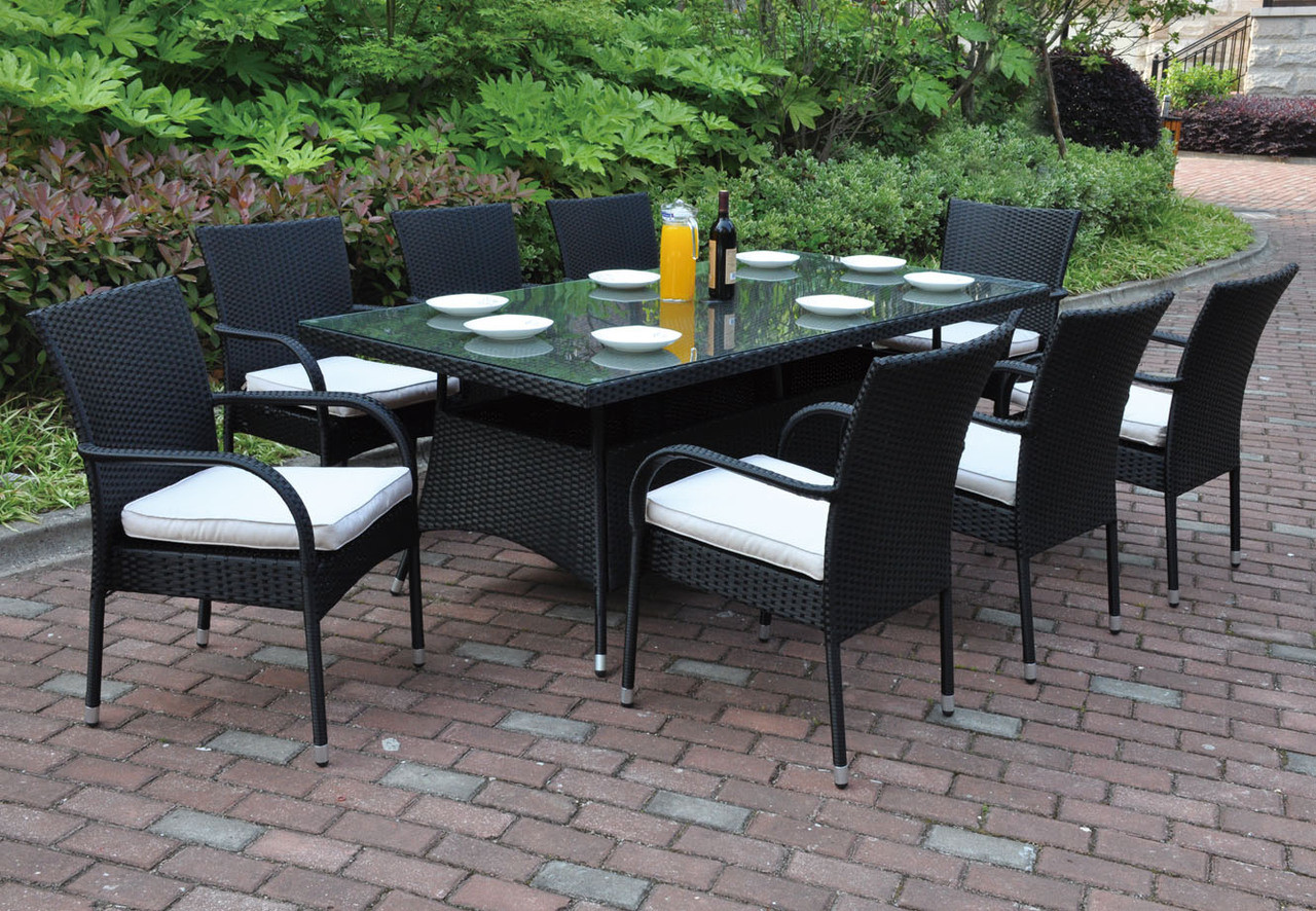 Poundex p50272 outdoor 9 pcs glass patio table set for Patio products