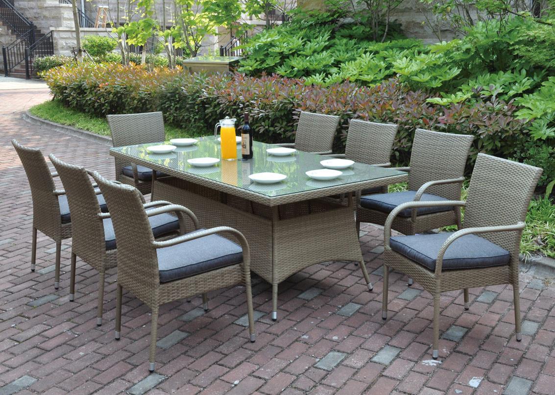 Poundex P Outdoor 9 Pcs Glass Patio Table Set