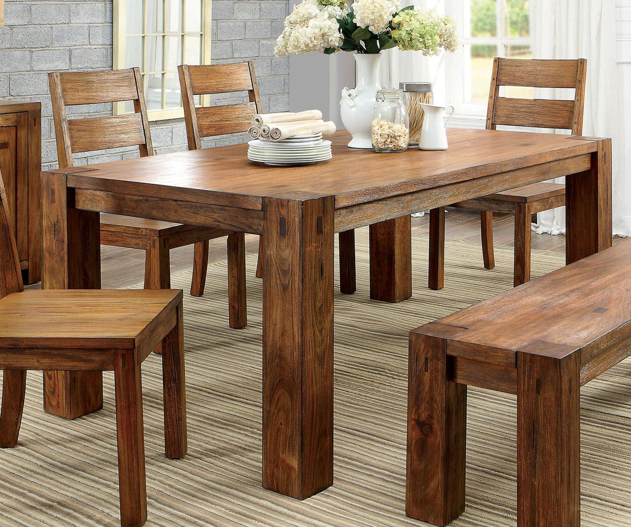 Furniture of america cm3603t dark oak table chairs bench