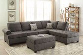 F6990 2-PCS Sectional Sofa w/ Reversible L/R Chaise in Ash Black