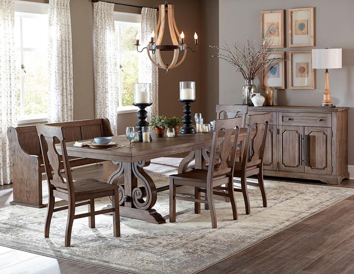 Homelegance 5438-96 Oak Wood Dining Table Set   Trestle Dining Set & Homelegance 5438-96 Oak Wood Dining Table with 6 Side Chairs