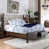 Furniture of America CM7577DR Rustic Wingback Tufted Bed