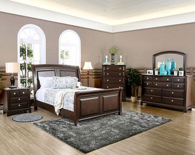 Furniture of America Sleigh 4 Pc Bedroom Furniture CM7383 | Queen and King Bedrooms