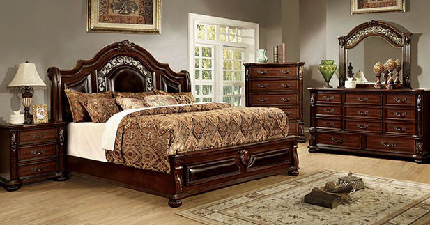 Flandreau Brown Cherry 4 Pc Bedroom Set CM7588