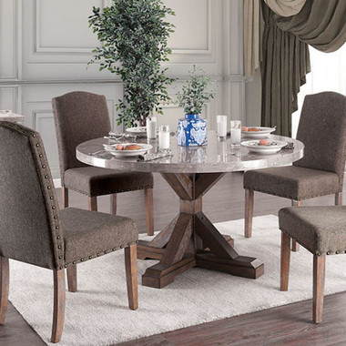 Bridgen 3429RT Round Marble Table with 4 Chairs