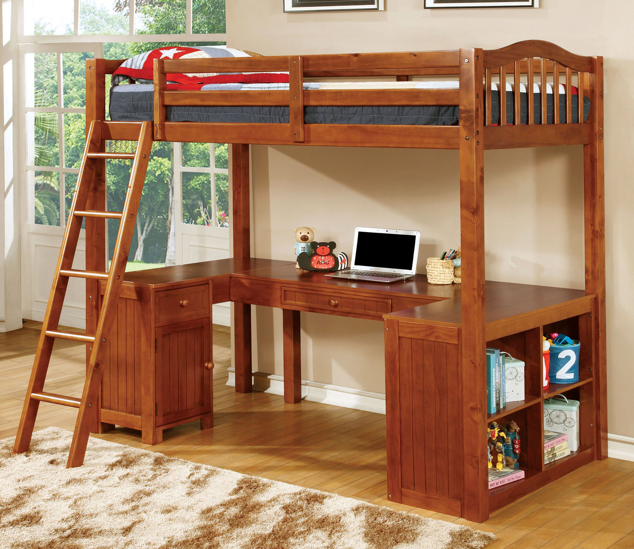 Oak Wood Twin Loft Bed With U Shaped Desk Below