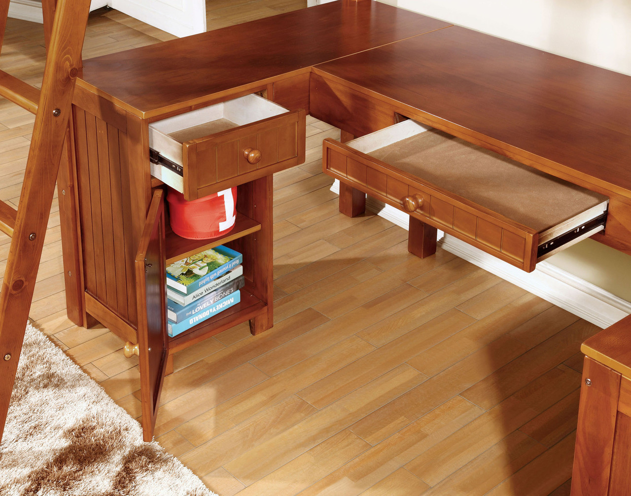 u shaped desk underneath oak drawers and cabinet detail
