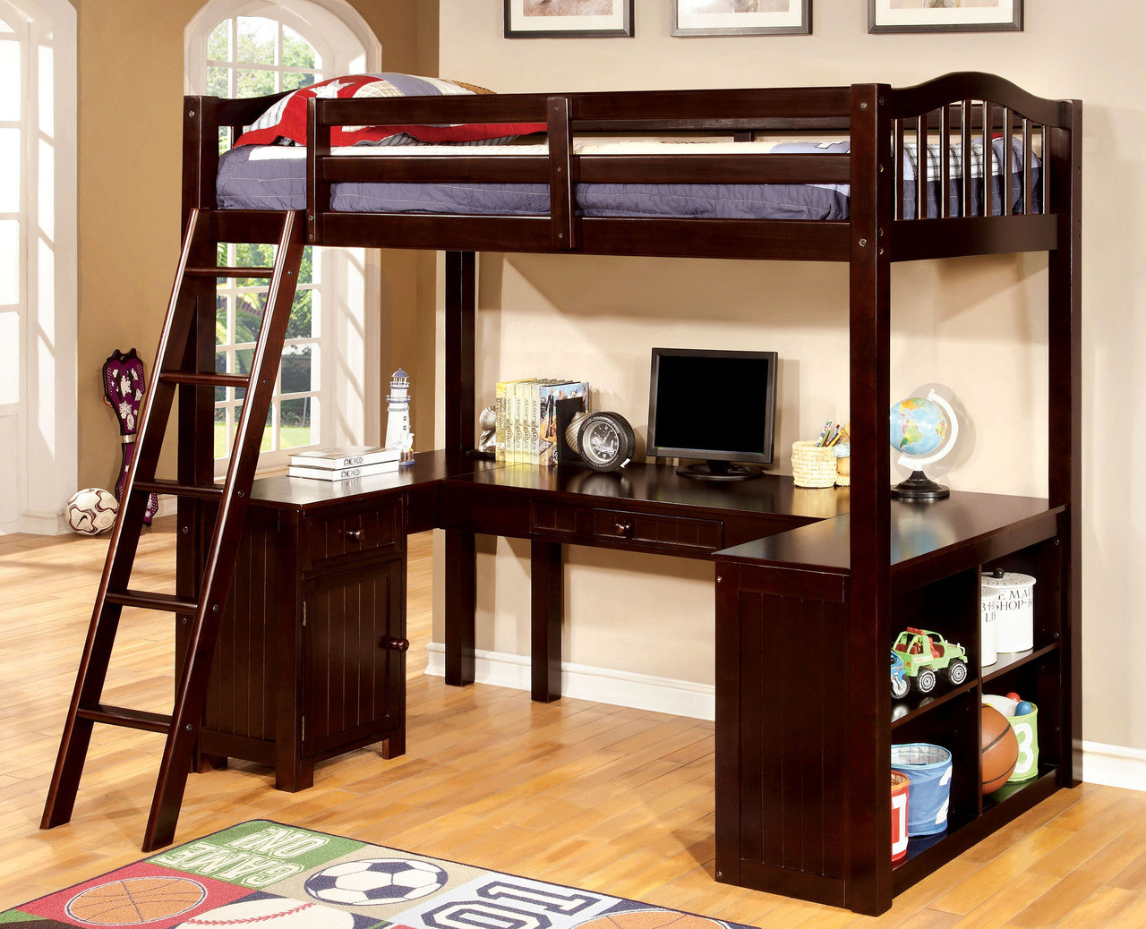 Etonnant Oak Wood Twin Loft Bed With U Shaped Desk Underneath · Espresso ...
