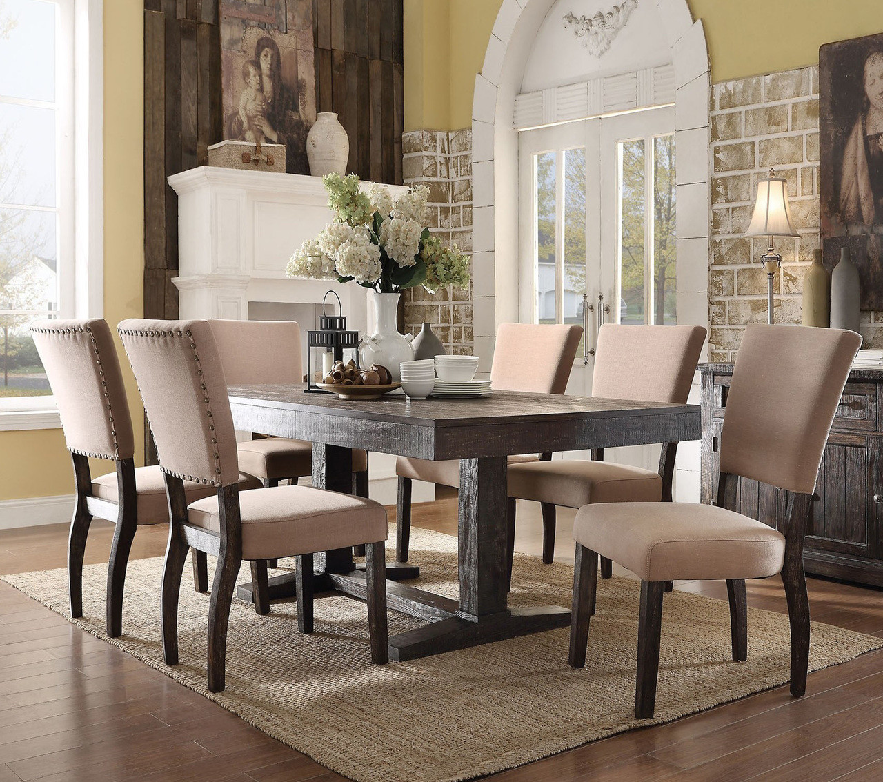 Rooms To Go Dining Room Set: ACME 71710 Salvaged Oak Dining Room Table Set